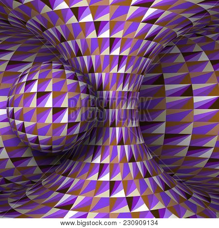 Purple White Brown Crystal Hyperboloid And Sphere. Vector Optical Illusion Illustration.