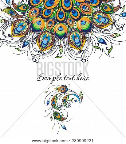 Invitation Card Templates With Peacock Patterned. Peacock Pattern