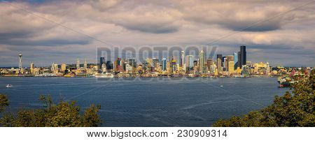 Seattle Skyline Panorama Across Elliott Bay Viewed From Hamilton Viewpoint Park