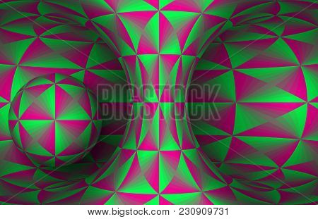 Pink Green Polygonal Hyperboloid And Sphere. Vector Abstract Illustration.