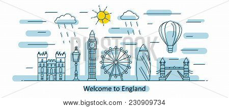 England Panorama. Great Britain Vector Illustration In Outline Style With Buildings And City Archite
