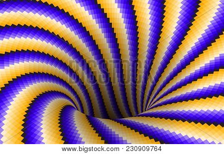 Rotating Spiral Patterned Hole Of Yellow Blue Stripes. Vector Optical Illusion Background.