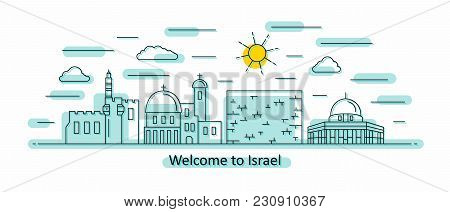 Israel Panorama. Israel Vector Illustration In Outline Style With Buildings And City Architecture. W