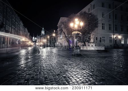 Old European City At Night. Night City View