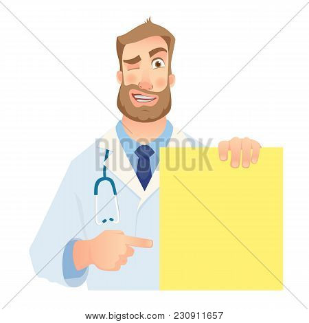 Doctor Holding Blank Banner. Winking Doctor Illustration. Set
