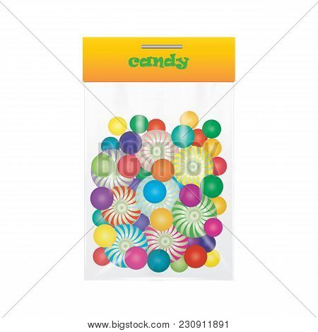 Candy Lollipop Sweetmeat Colorful Assortment In Transparent Bag Isolated Art Creative Vector Illustr
