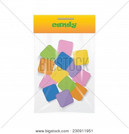 Candy Lollipop Sweetmeat Colored Transparent Package Isolated Art Creative Vector Illustration Eleme