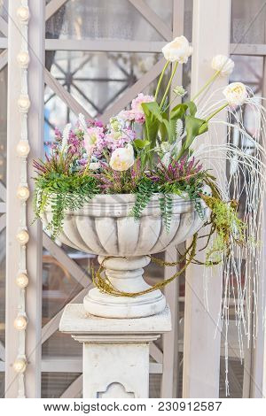 Blooming Flowers In A Large Vase In The Street On A Sunny Day, Wedding Decoration