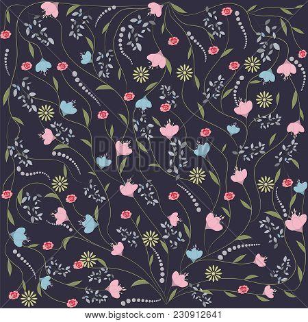 Background Wildflowers Gentle Art Creative Vector Illustration