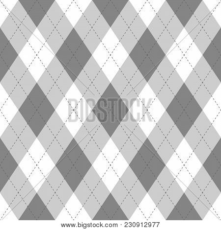 Grey Argyle Seamless Pattern Background.diamond Shapes With Dashed Lines. Simple Flat Vector Illustr