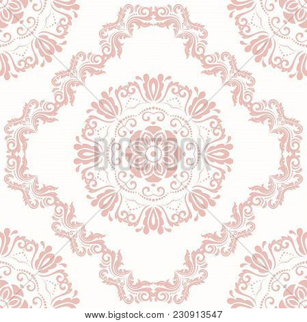Classic Seamless Vector Pattern. Damask Orient Light Pink Ornament. Classic Vintage Background