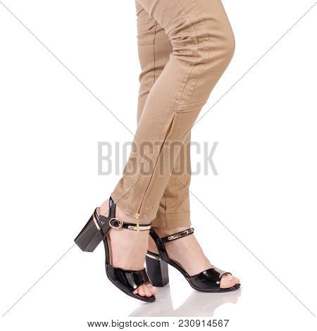 Female Legs In Classic Pants Black Lacquer Shoes Classic Style Fashion Beauty Shop Buy On White Back