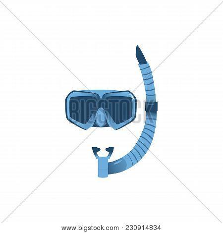 Vector Cartoon Scuba Diving Snorkeling Equipment Snorkel And Mask Icon. Summer Holiday Vacation, Sea