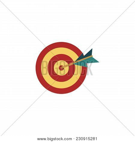 Vector Flat Darts Target Dashboard Icon With Arrow In Center Bull Eye. Sport Competition, Business S