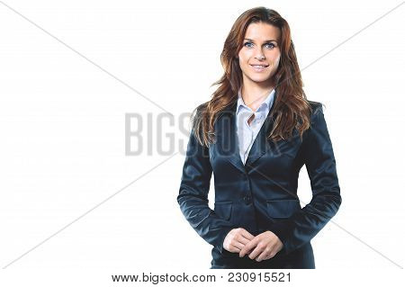 Portrait Of Smiling Business Woman, Isolated On White Background