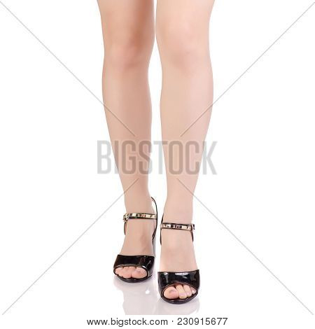Female Legs In Black Lacquered Shoes Sandals Beauty Fashion Buy Shop On White Background Isolation