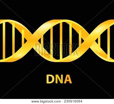 Gold And Silver Dna Icon. Dna Symbol. Dna Helix Symbol. Gene Icon. Vector Illustration On Black Back