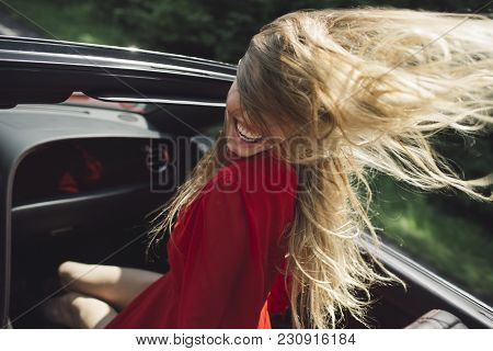 Travel And Summer Vacation. Sexy Woman Drive Car, Fashion, Beauty. Businesswoman Or Pretty Woman In