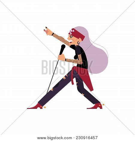 Old Female Rock Musician, Singer Singing Into Microphone, Cartoon Vector Illustration Isolated On Wh