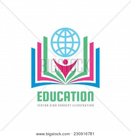 Education - Vector Logo Template Concept Illustration In Flat Style Design. Learning Book Sign. High