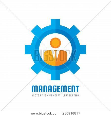 Management - Vector Business Logo Template Concept Illustration In Flat Style. Engineer People Creat