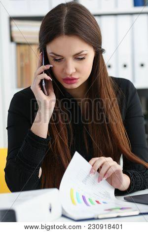 Beautiful Brunette Smiling Businesswoman Talk Cellphone In Office Portrait. Stay In Touch Negotiate