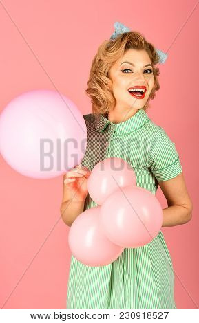Pin Up Woman In Balloons, Birthday. Sexy Blond Girl With Retro Makeup Hold Balloons. Retro Woman Wit