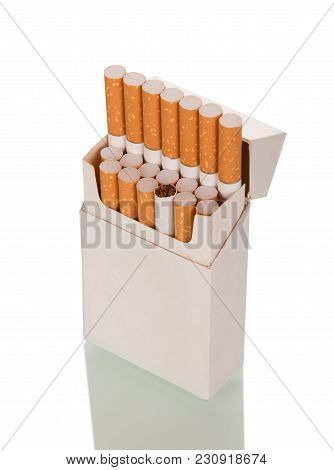 Full Pack Of Cigarettes Isolated On White Background