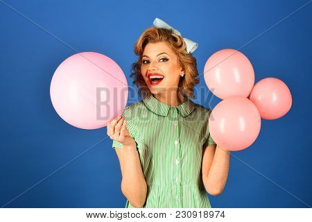Birthday, Vintage, Pinup, Celebration. Pin Up Woman In Balloons, Birthday. Beauty And Fashion, Vinta