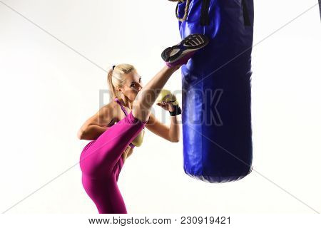 Knockout, Energy, Sport Success. Sport Coach In Gym With Punching Bag. Boxer Girl Workout, Healthy F