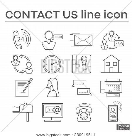 Vector Image. Set Of Line  Icons On The Theme Of Contact Us. Black And White Outline Sign