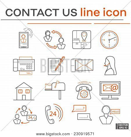Vector Image. Set Of Line Icons On The Theme Of Contact Us. Black And Red Outline Sign