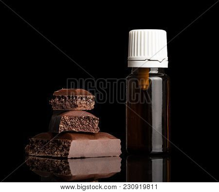 Aromatic Liquid For Inhalation Of Vapour Electronic Cigarettes And Bunch Of Porous Chocolate Isolate
