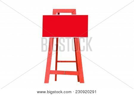 Red Metal Badge With Stand And No Parking In This Area Text In Thai Language,isolated On White Backg