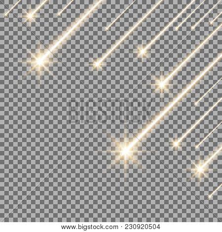 Glowing Falling Stars On Transparent Background, Light Effect, Golden Color