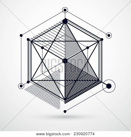 Engineering Technological Black And White Vector 3d Backdrop Made With Cubes And Lines. Illustration