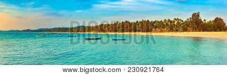 Seascape at sunset time. Beautiful landscape of the Indian ocean. Amazing view. High resolution panorama