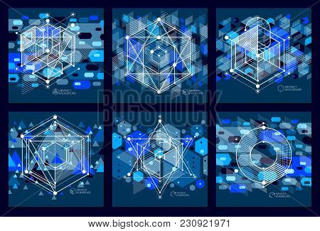Abstract Vector Composition With Simple Geometric Figures, Symbols, Art Dark Blue Backgrounds Set. T