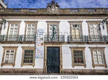 Porto, Portugal - December 8, 2016: Fornt Facade Of Balsemao Viscounts Palace, House Of Numismatic M