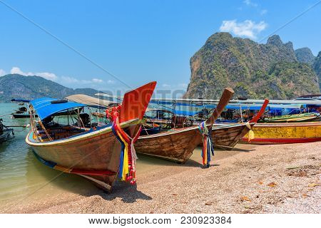 Boat And Tropical Beach In Andaman Sea, Thailand