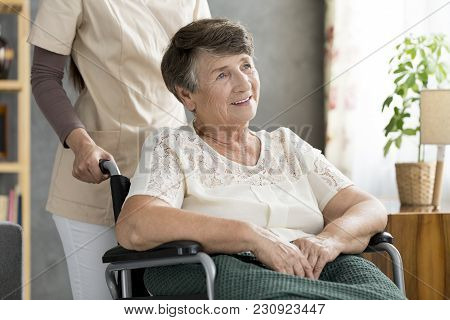 Smiling Disabled Elderly Woman