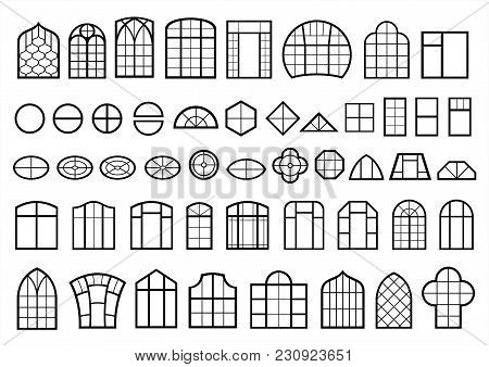 A Set Of Classic And Modern Windows. Icons Signs Symbols Silhouettes. Vector Graphics