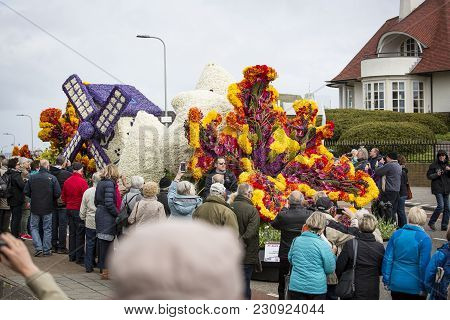 The Flower Parade In The Netherlands At Springtime.