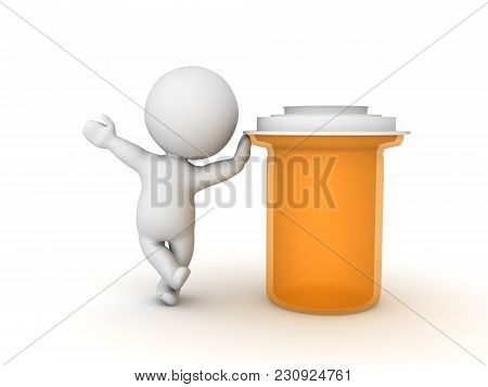 3D Character Leaning On Big Orange Pharmacy Bottle