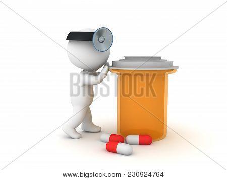 3D Doctor Pushing Big Orange Drug Bottle