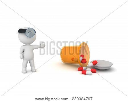 3D Doctor Showing Spilled Pharmacy Capsule Bottle