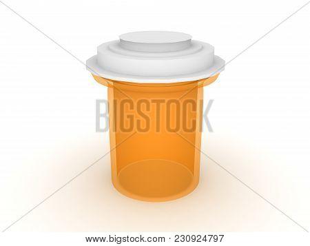 3D Illustration Of A Orange Medicine Drug Vial Container