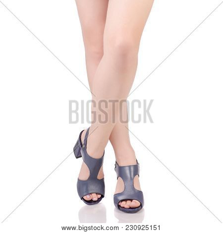 Female Legs In Blue Leather Shoes Sandals Beauty Fashion Buy Shop On White Background Isolation