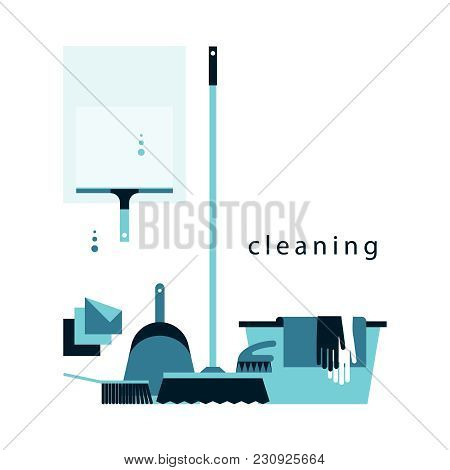A Set Of Accessories For Cleaning. Brushes, Latex Gloves, Scoop, Basin, Wiper. Flat Icons. Vector Il