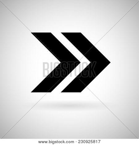 Black Double Arrow. Fast Forward Or Next Icon. Vector Illustration